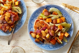 Pork Chops & Balsamic-Pear Compote with Fennel & Sweet Potatoes