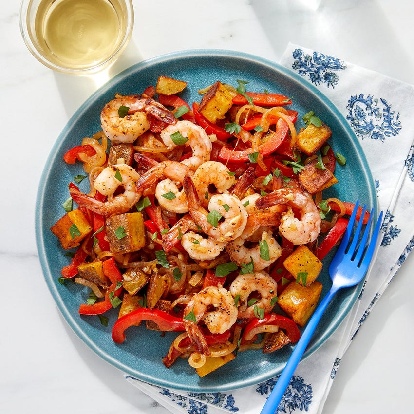 Garlic Butter Shrimp & Roasted Potatoes with Onion & Bell Pepper