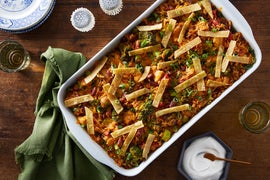 Mexican Chicken & Rice Casserole with Broccoli & Tortilla Strips