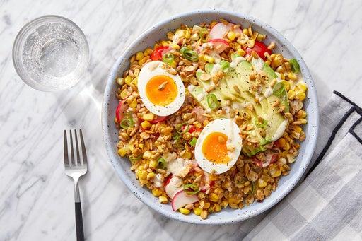 Green Goddess Farro & Avocado Bowl with Corn & Soft-Boiled Eggs