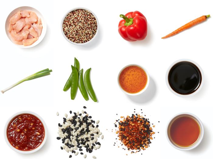 Sesame-Ginger Chicken & Quinoa Bowl with Bell Pepper & Carrots