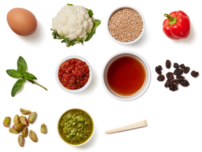 Sicilian Cauliflower & Farro Bowl with Hot Honey, Pistachios & Mint