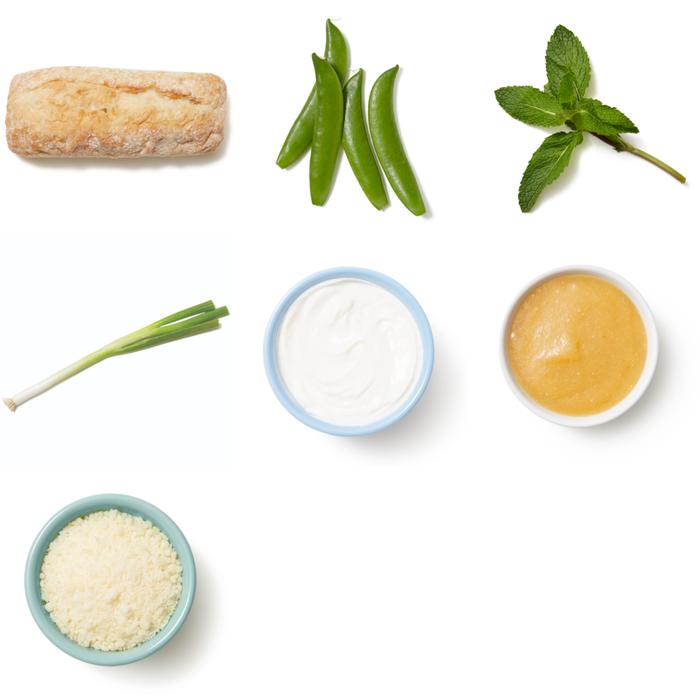 Snap Pea Crostini with Preserved Lemon Yogurt & Mint