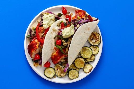 Finish & Serve the Guajillo Chicken & Poblano Tacos