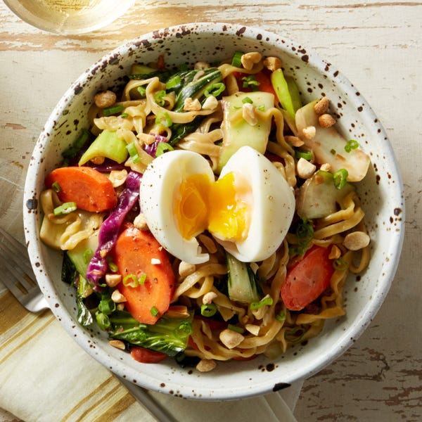 Soy-Tahini Wonton Noodles with Bok Choy & Soft-Boiled Eggs