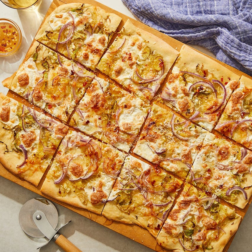Three-Cheese Flatbread with Brussels Sprouts & Hot Honey