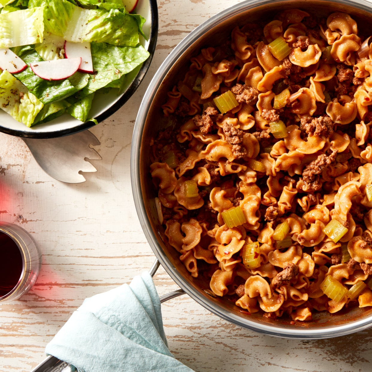 Whole Grain Pasta & Beef Bolognese with Romaine Salad