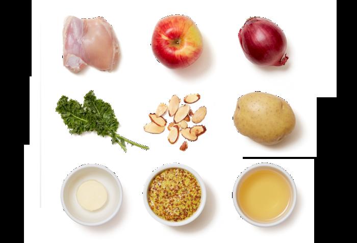 Seared Chicken & Pan Sauce with Sautéed Potato & Apple