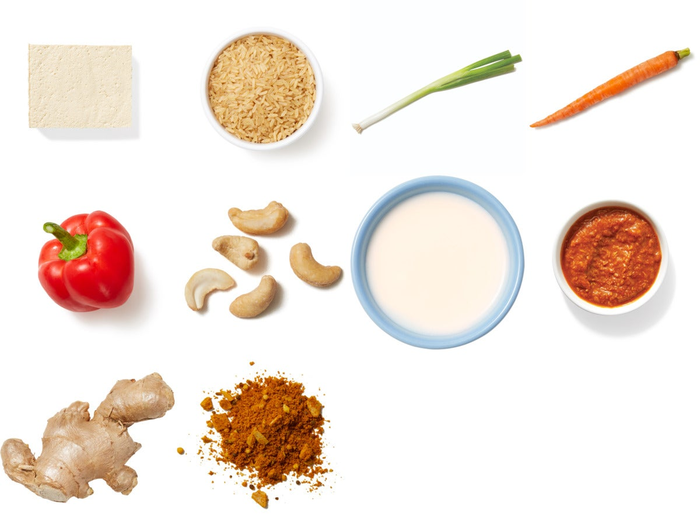 Baked Tofu & Creamy Cashew Korma with Carrots & Bell Pepper