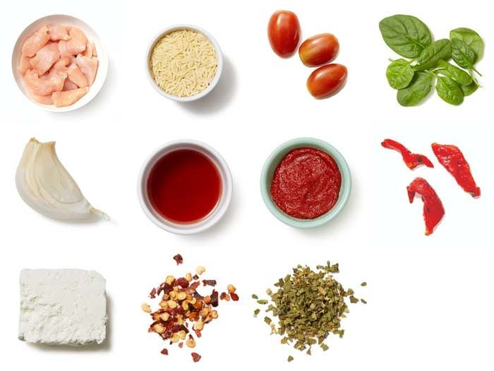 Oregano Chicken & Orzo with Fresh Tomato Sauce, Spinach & Feta