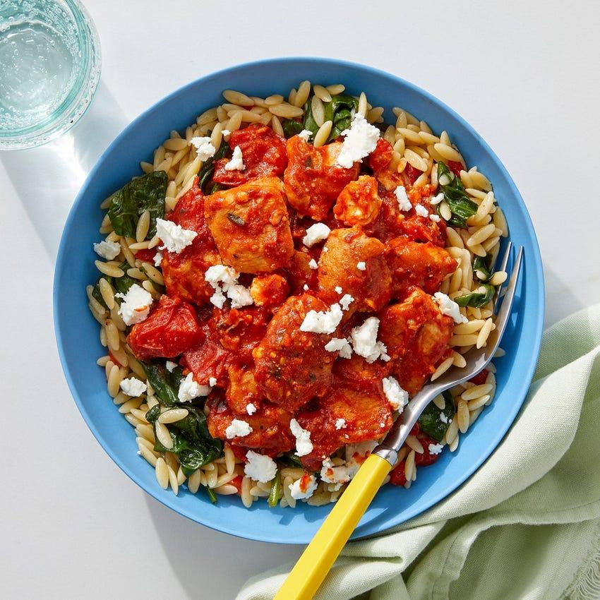 Oregano Chicken & Orzo with Fresh Tomato Sauce, Spinach & Grana Padano