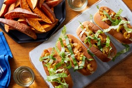 Creamy Shrimp Rolls with Pickle Chips & Roasted Sweet Potato Wedges