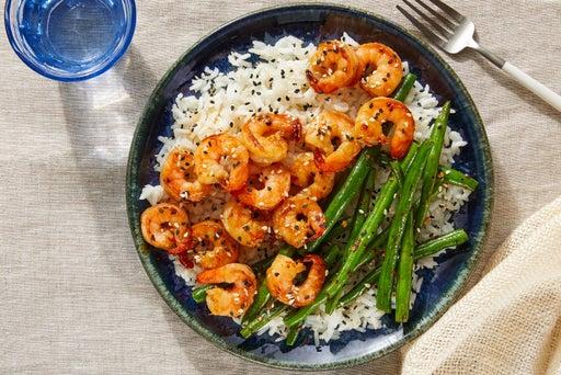 Teriyaki Shrimp & Green Beans with White Rice