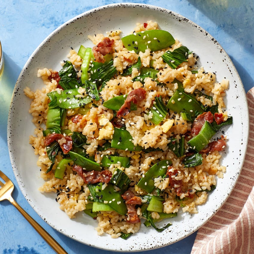 Prosciutto Fried Rice with Sesame Snow Peas & Bok Choy