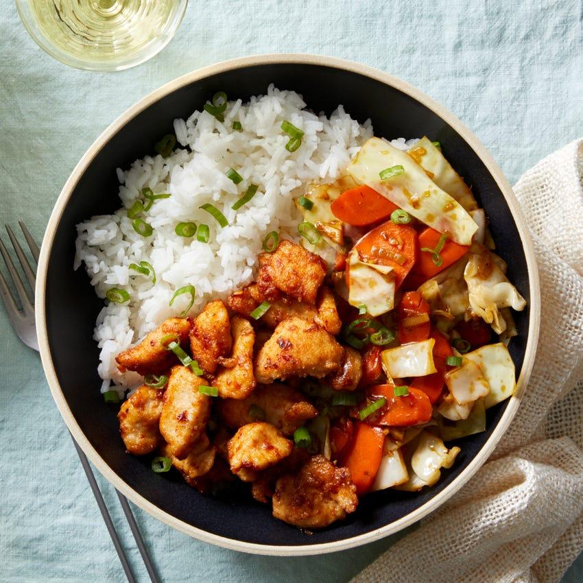 Spicy Chicken & Stir-Fried Vegetables with Jasmine Rice