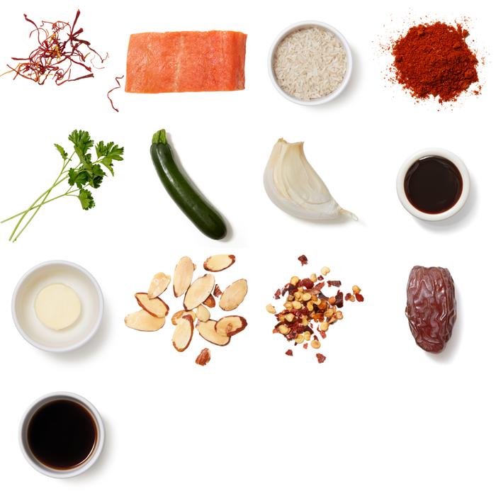 Pan-Seared Tilapia & Saffron Rice with Sherry-Date Pan Sauce