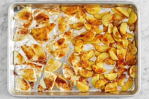 Roast the potatoes & kohlrabi