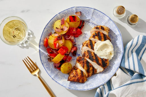 Grilled Chicken & Fingerling Potatoes with Hot Honey Dressing