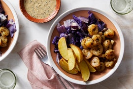 Dukkah-Spiced Shrimp & Tahini Sauce with Cabbage & Potatoes