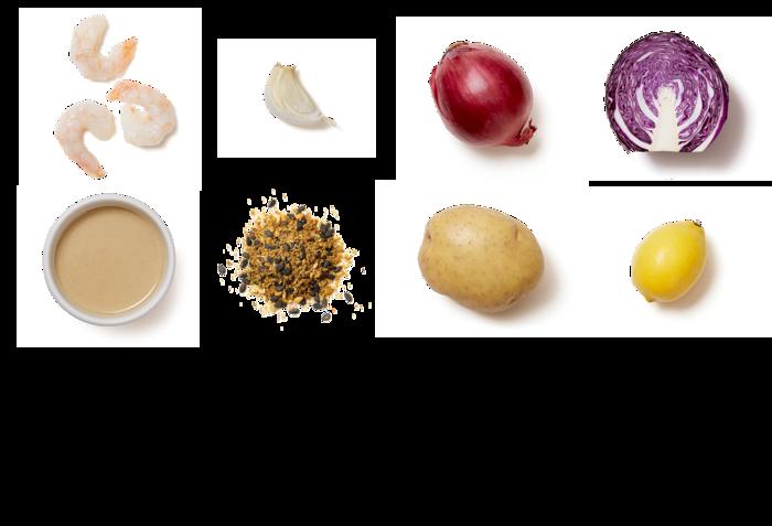 Dukkah-Spiced Shrimp & Tahini Sauce with Roasted Cabbage & Potatoes