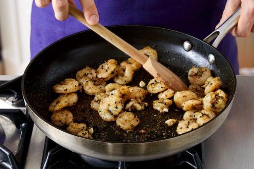 Cook the shrimp & serve your dish: