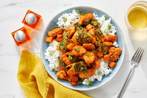 Butter Chicken & Sweet Potato with Spinach & Rice