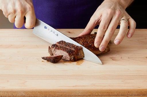 Slice the steak & serve your dish: