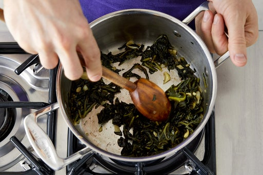 Braise the collard greens: