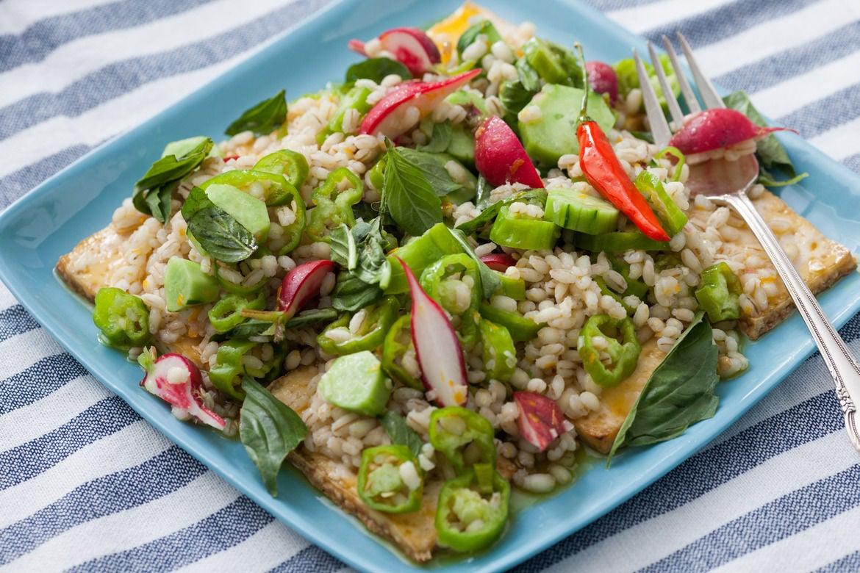 Orange-Glazed Tofu with Barley & Vegetable Salad