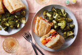 Vietnamese-Style Vegetable Sandwiches with Spicy Mayo & Roasted Broccoli