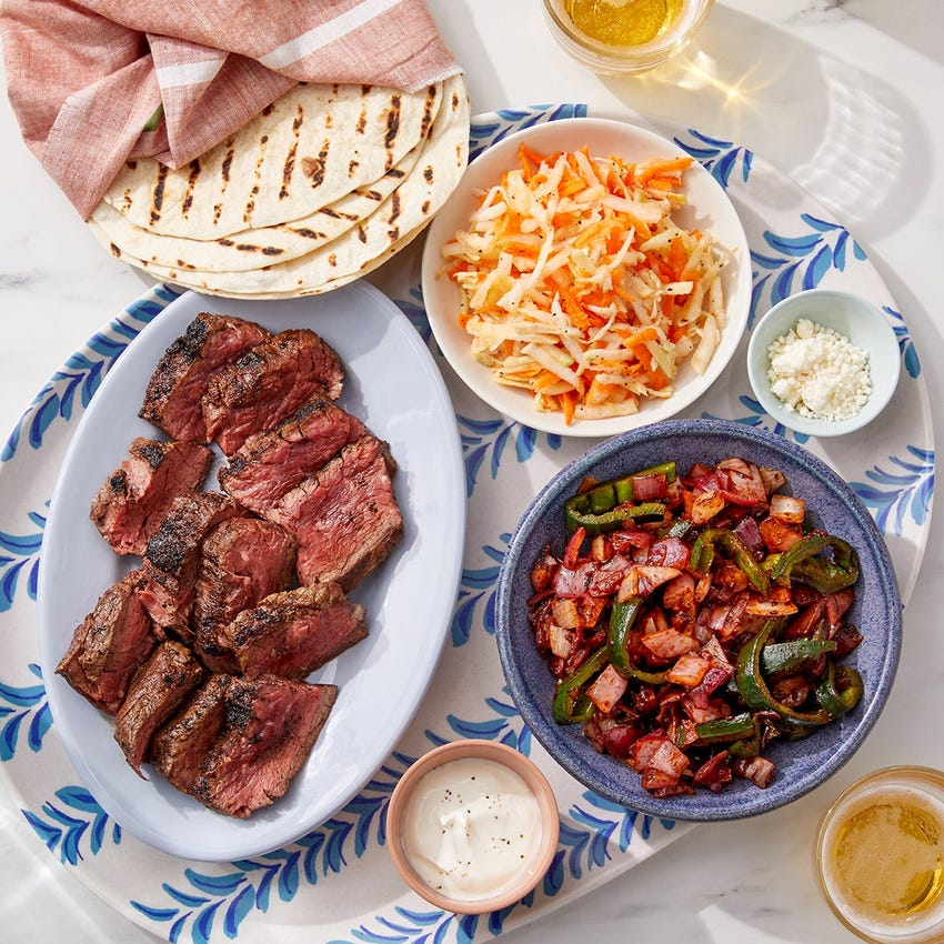 Grilled Steak Fajitas with Spicy Onion & Poblano Pepper