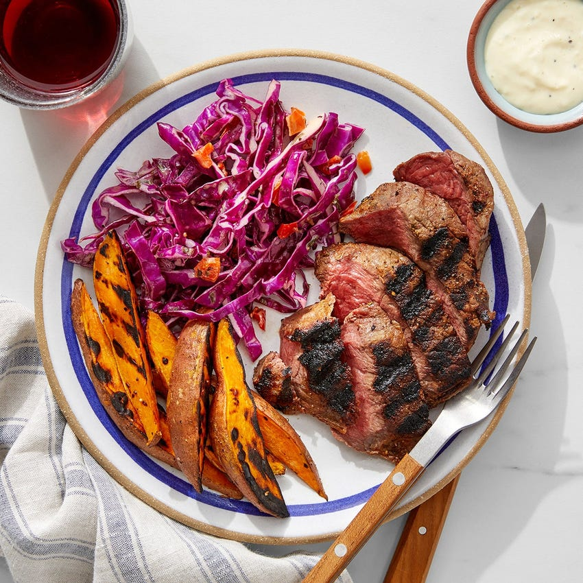 Grilled Steaks & Sweet Potato Wedges with Green Goddess Slaw