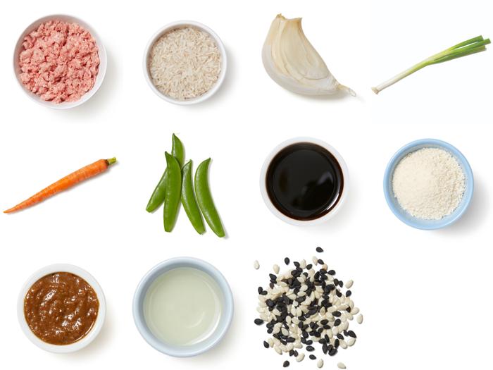 Cumin-Sichuan Glazed Meatballs with Scallion Rice, Carrots & Sugar Snap Peas