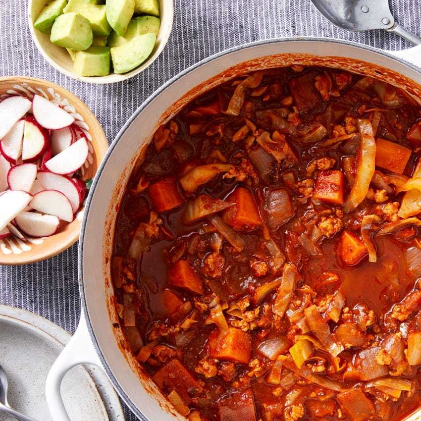 Ancho Chicken Chili with Sweet Potatoes & Avocado