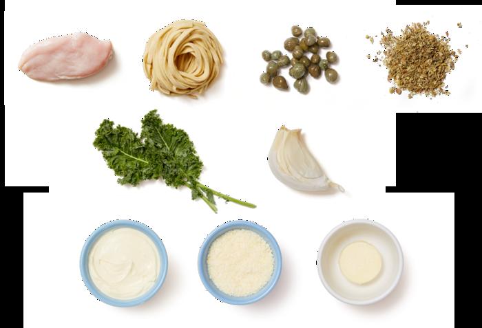 Garlic-Caper Chicken with Fettuccine & Kale