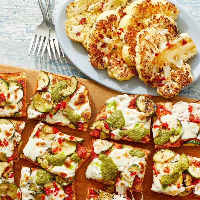 Zucchini & Pesto Flatbread Pizza with Hot Honey Cauliflower