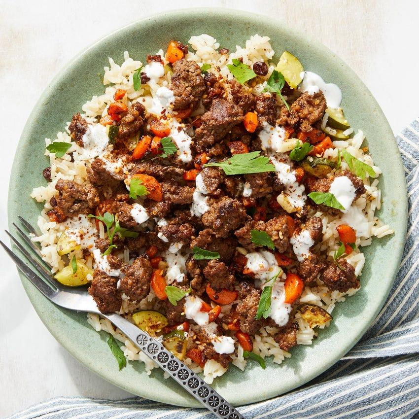 Za'atar Beef & Carrots with Zucchini Rice & Lemon Mayo