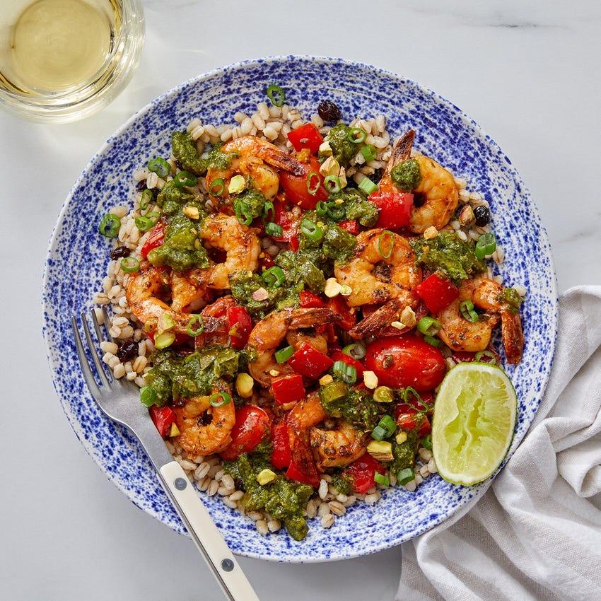 Chimichurri Shrimp with Barley, Pepper & Tomatoes
