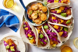 Baja-Style Tilapia Tacos with Orange & Cheesy Sweet Potatoes