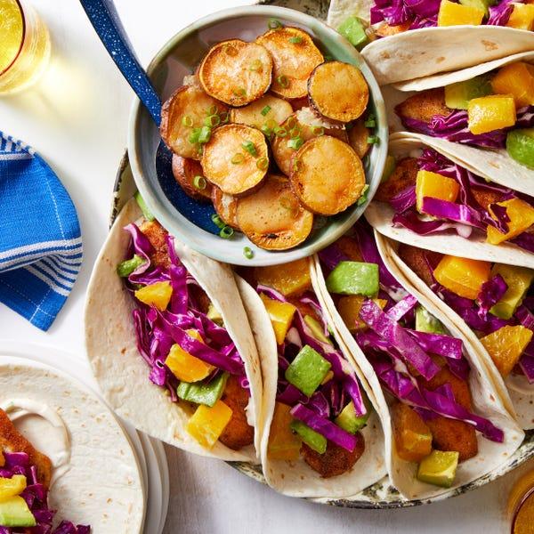 Baja-Style Tilapia Tacos with Orange & Cheesy Sweet Potatoes