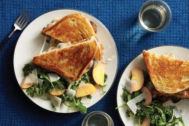 Mushroom Grilled Cheese Sandwich with Nectarine Salad