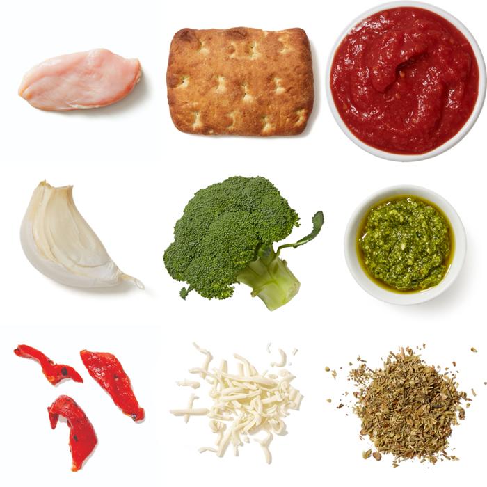 Pesto Chicken Focaccia Sandwiches with Roasted Broccoli & Tomato Dipping Sauce