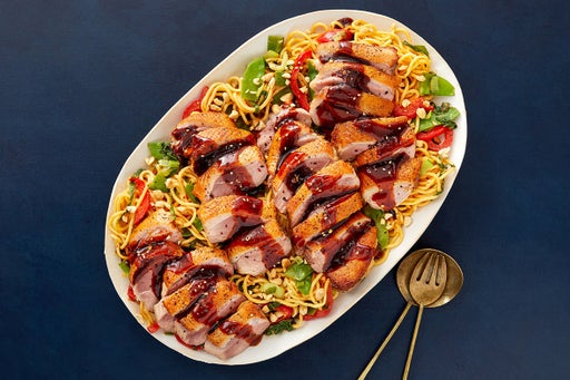 Pan-Seared Duck & Lo Mein Noodles with Peanut Sauce & Vegetables