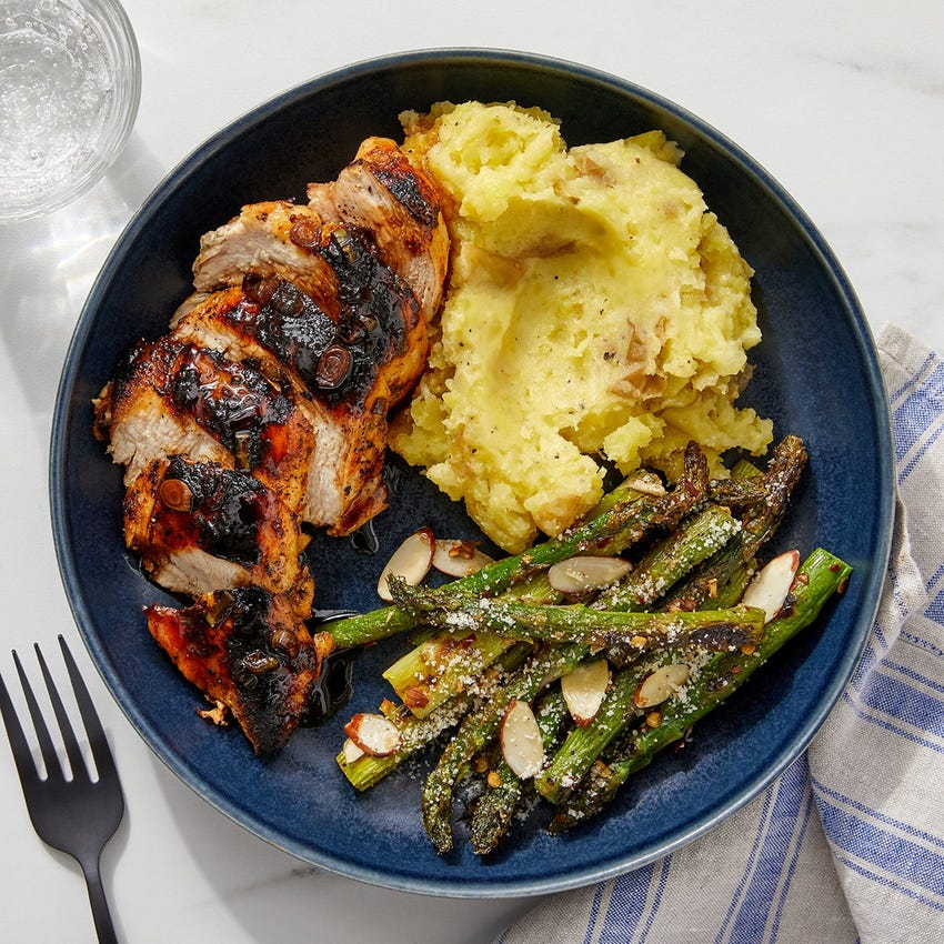 Balsamic Chicken & Asparagus with Parmesan Mashed Potatoes