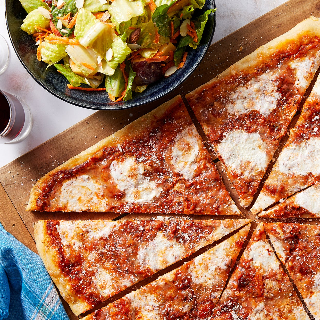 Three-Cheese Pizza with Creamy Tomato Sauce & Romaine Salad