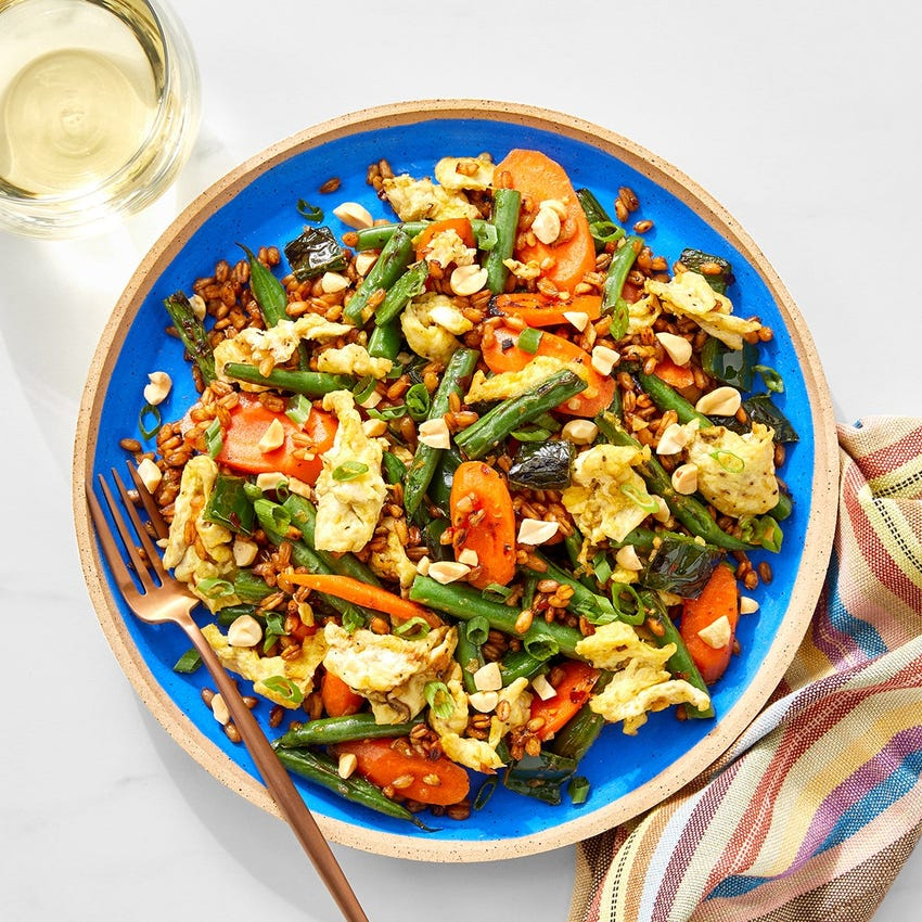 """Vegetable & Farro """"Fried Rice"""" with Poblano Pepper & Peanuts"""