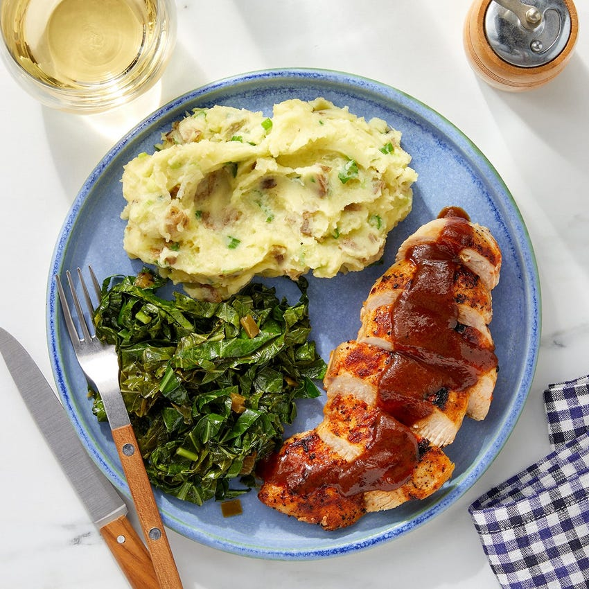 Smoky Chicken & BBQ Pan Sauce with Spicy Collard Greens & Mashed Potatoes
