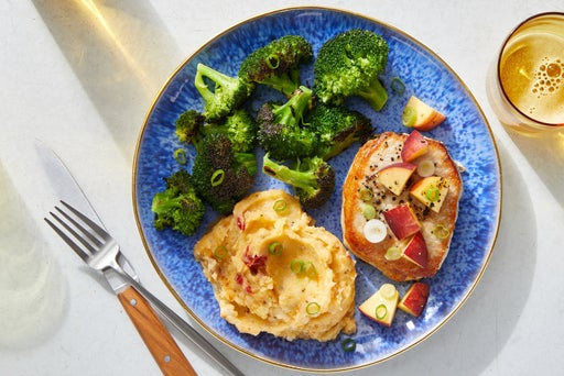 Seared Pork Chops & Nectarine Salsa with Pimento Cheese Mashed Potatoes