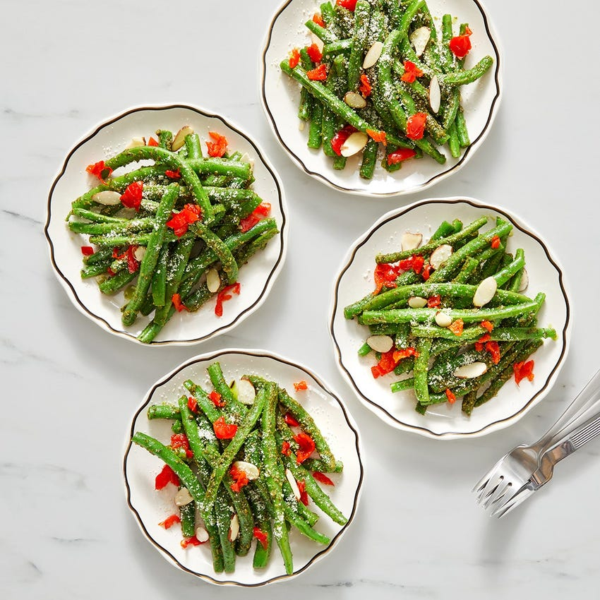 Pesto Green Beans with Almonds & Pickled Peppers