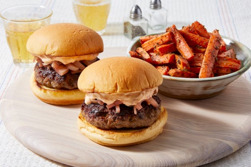 Greek Lamb & Beef Burgers with Harissa Yogurt Sauce & Carrot Fries